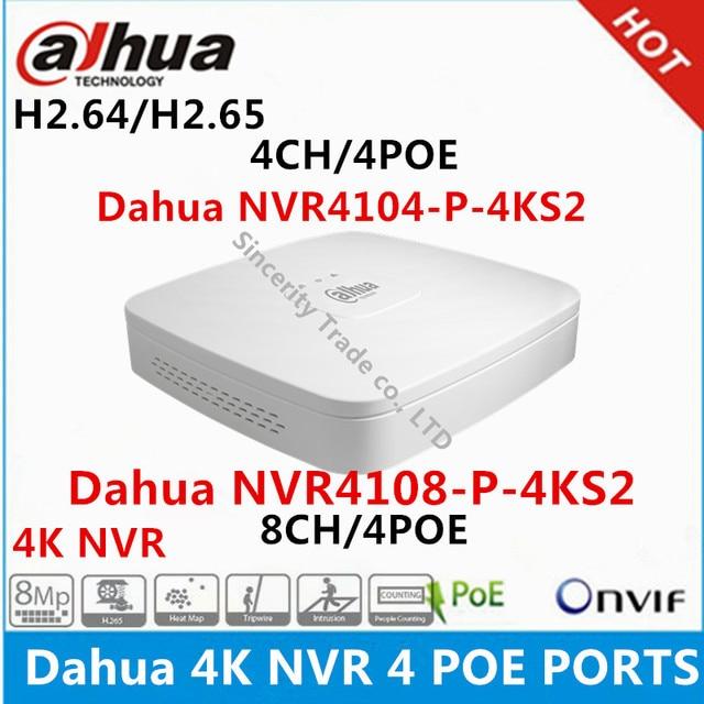 Dahua 4 K NVR NVR4104-P-4KS2 4CH met 4 POE NVR4108-P-4KS2 8ch met 4PoE poorten vervangen NVR4104-P NVR4108-P Netwerk Video Recorder