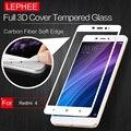 LEPHEE XIAOMI RedMi 4 Tempered Glass 9H Hardness 3D Carbon Fiber Soft Edge Full Screen Tempered Glass Film RedMi 4 + Retail Box