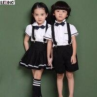 Korean Style Kids School Uniforms Children Cotton Short Sleeve Suit Show Choral Clothes Spring/Summer Shirt+Strap dress 3t 12y