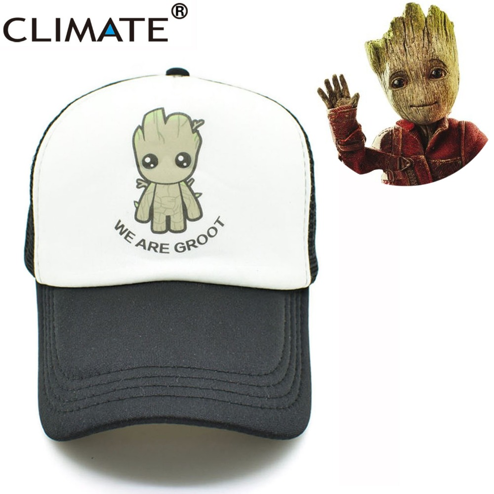 CLIMATE New Summer Cool Black Mesh Trucker Caps Guardians of the Galaxy Groot Fans Printing Meh Youth Nice Mesh Cool Summer Caps