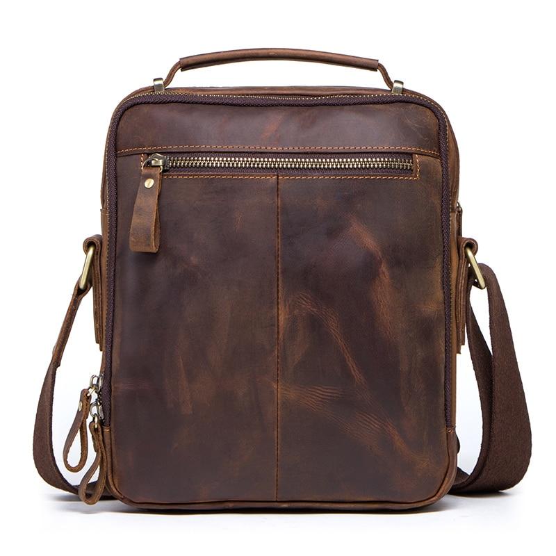 CONTACT'S crazy horse leather men's shoulder bag vintage messenger bags men bolsos male crossbody bags man's handbag sling bag 1