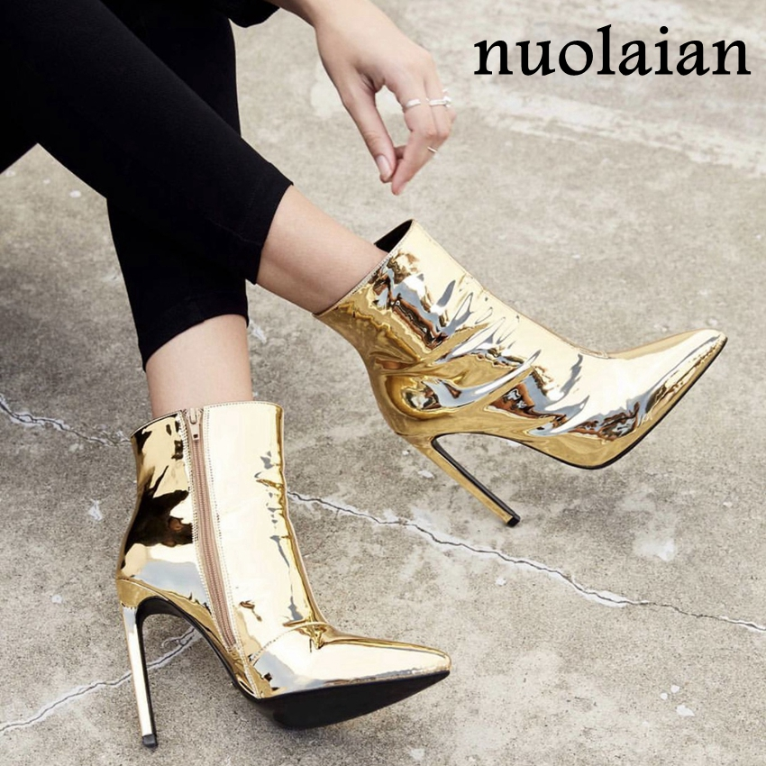 10.5CM Heels Ladies Boots For Winter Womens Faux Fur Ankle Boots Lady Patent Leather High Heels Boots Woman Botas Women Shoes faux fur heeled ankle boots