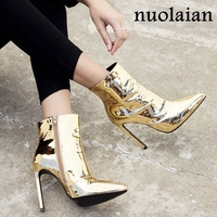 10.5CM Heels Ladies Boots For Winter Womens Faux Fur Ankle Boots Lady Patent Leather High Heels Boots Woman Botas Women Shoes