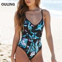 OULING 2018 One Piece Swimsuit Corset Swimwear Floral Print Push Up Bodysuit Plus Size Monokini Women