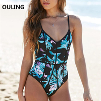 OULING 2018 One Piece Swimsuit Corset Swimwear Floral Print Push Up Bodysuit Plus Size Monokini Women