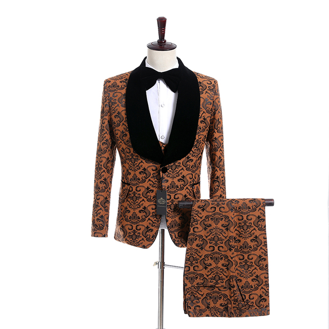New Style Groomsmen Shawl Lapel Groom Tuxedos One Button Men Suits Wedding Best Man Blazer ( Jacket+Pants+Bow Tie+Vest ) C134