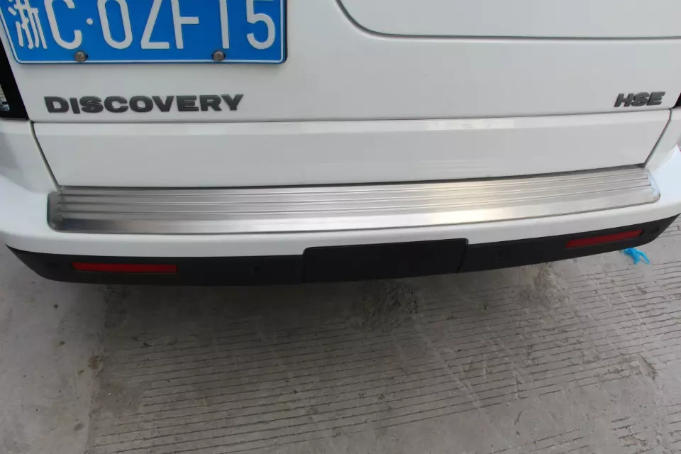 1pc stainless steel rear scuff plate bumper protector cover trim for land rover discovery 4 2014 2015 16 accessories car styling