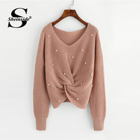 Sheinside Plain V Neck Pearl Beading Casual Sweater Long Sleeve Detail Twist Knitted Sweater Fall Winter Tops For Women Pollover
