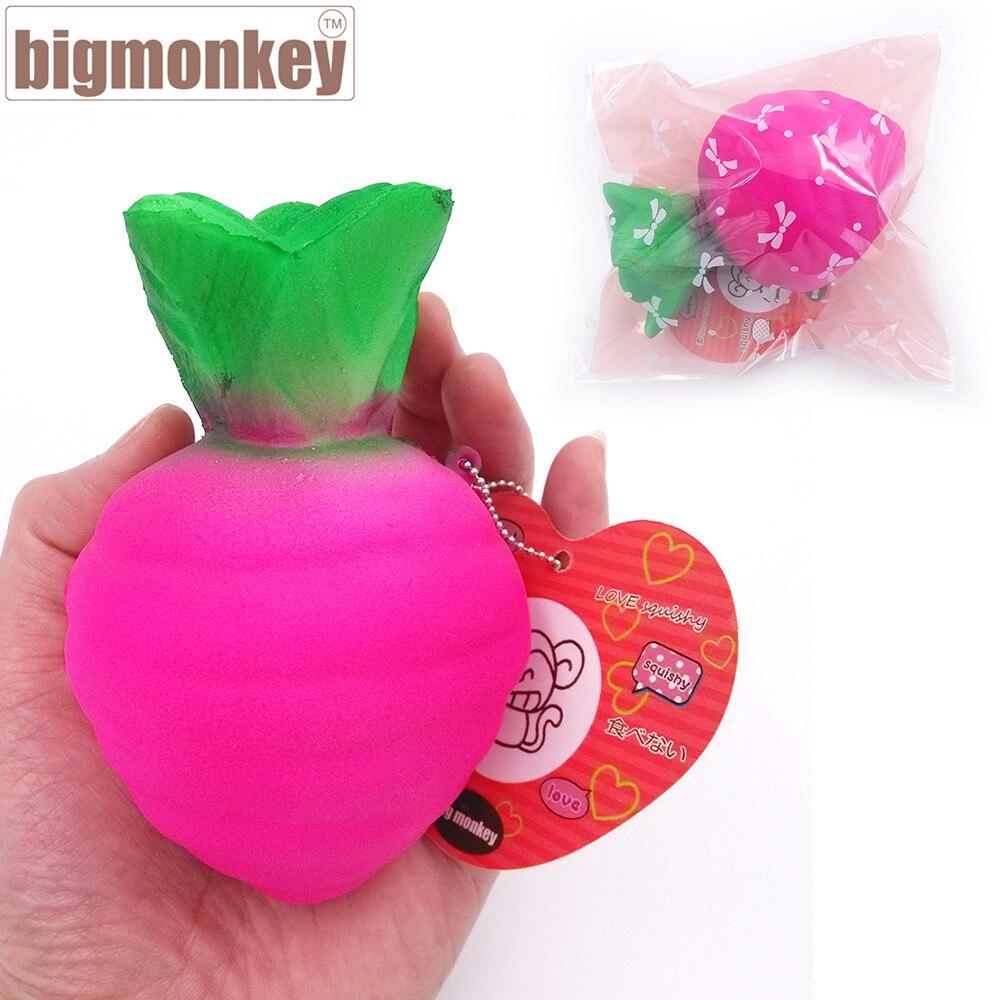 imágenes para Mono grande 11.5 cm nueva llegada de Kawaii lento aumento de rábano Conejo con encanto blando de juguete