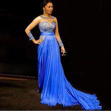 Doragrace Elegant Long Sleeves Silk Chiffon Celebrity Evening Dresses Formal Gowns with Beaded