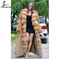 FURSARCAR 2018 Настоящее красный лисий мех пальто 120 см длинные роскошные Red Fox Меховая куртка с большой отложной воротник толщиной Обувь на теплом