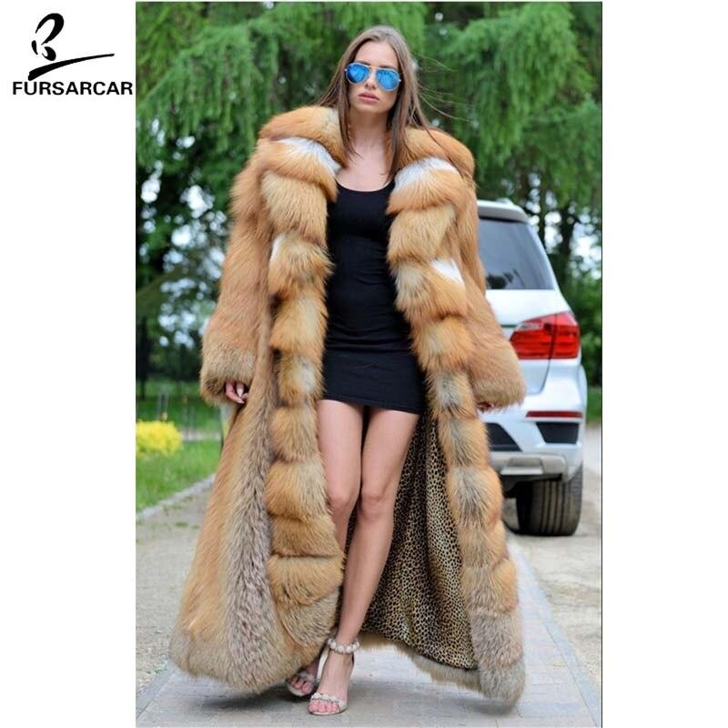 Rouge Fox Fursarcar Cm Veste Fur 120 2018 Fourrure Luxe Réel Big down Avec Épais Turn De Red Renard Col Manteau Long Chaud ggw8ERqrP