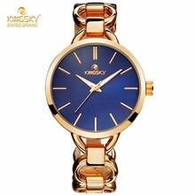 KINGSKY Marca de Moda Las Mujeres Del Reloj de Oro Rosa de Aleación de Reloj de Cuarzo Popular Azul Color Dial Pulsera de Las Señoras Relojes Montre Femme