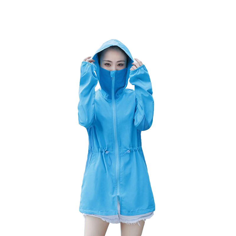 2018 Fashion New Sun Protection Coat Sportswear Womens Windbreaker Hooded Jackets Large Size Summer Beach Thin Jacket 5 Color