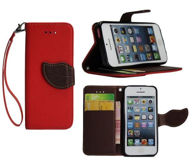 Case For iPhone 5G 5S Phone Shell Leaf Pouch Wallet Handbag + Lanyard