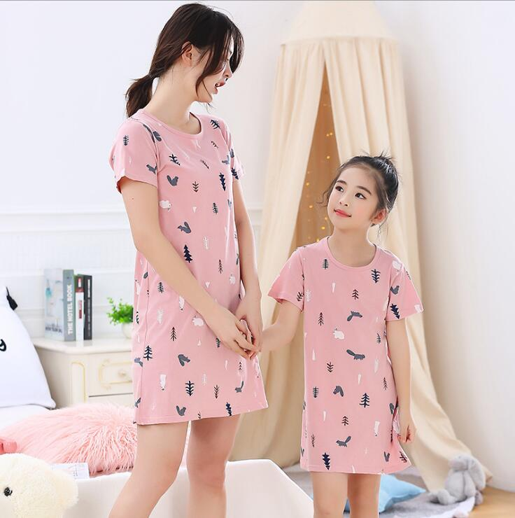 mother and daughter dresses family matching nightgown mommy and me clothes summer pajamas for women kids mom girls sleep dress