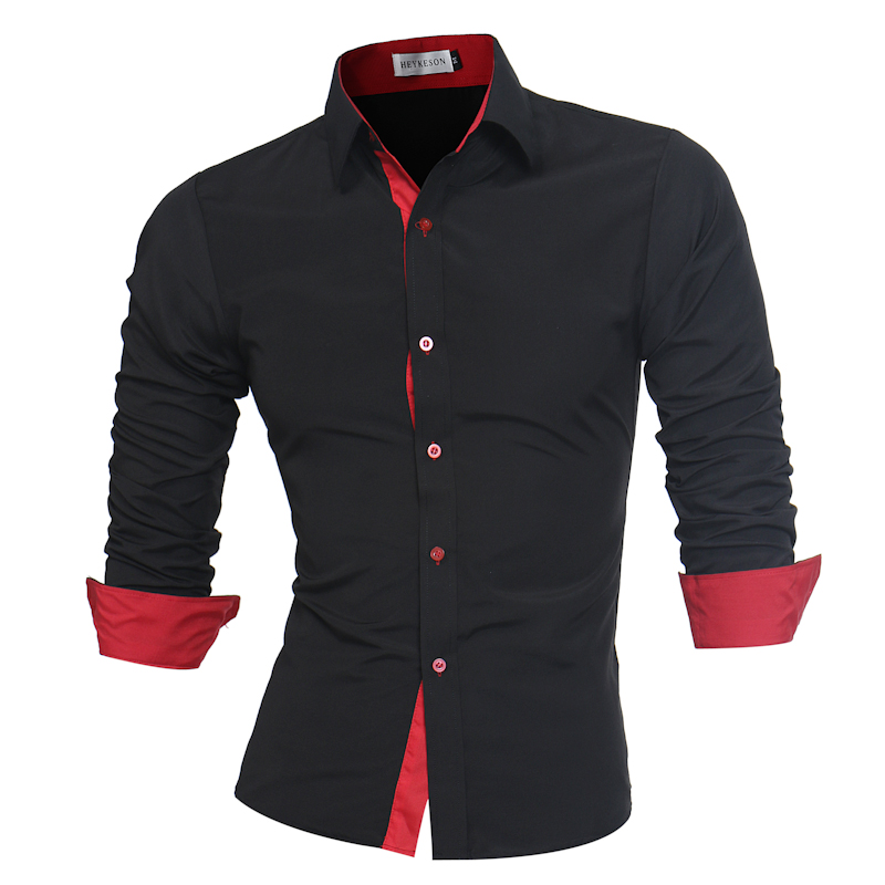 Для мужчин рубашка марка 2017 мужской высокое качество рубашка с длинными рукавами Повседневное Slim Fit черный человек Сорочки выходные для мужчин плюс Размеры 4xl