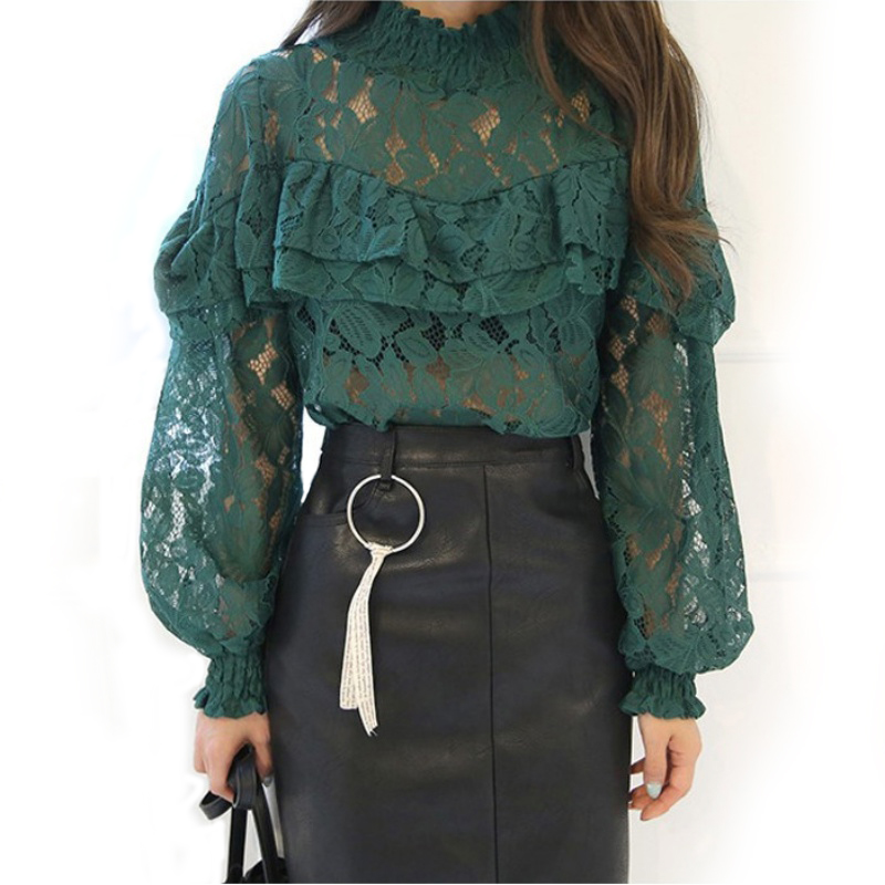 White/Green/Black Long Sleeve Lace Blouse Tops High Neck Ruffle Trim Floral Crochet Blousa Trumpet Sleeves