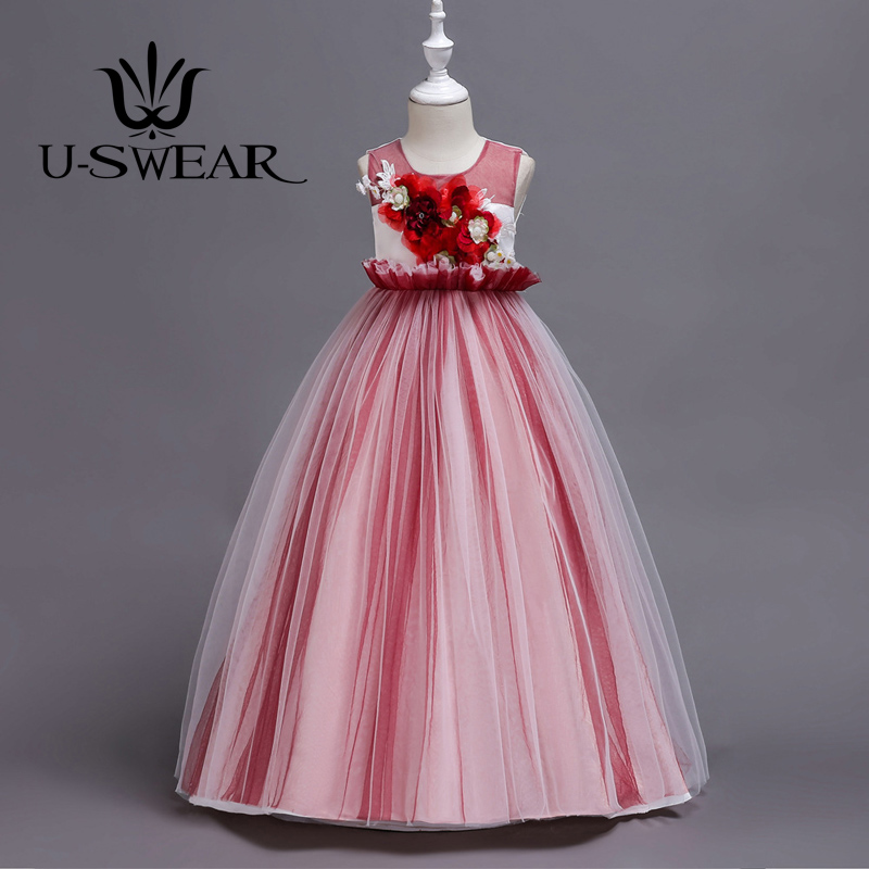 U-SWEAR 2019 New Arrival   Flower     Girl     Dresses   For Weddings 5 Colors   Flower   Appliqued   Flower     Girl   Pageant Ball Gown