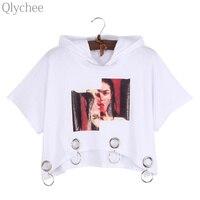 Qlychee Harajuku Print Hooded T Shirt Ring Decoration Crop Tops Hiphop Style Short Sleeve Loose Tees