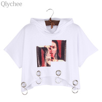 Qlychee Harajuku Print Hooded T Shirt Ring Decoration Crop Tops Hiphop Style Short Sleeve Loose Tees
