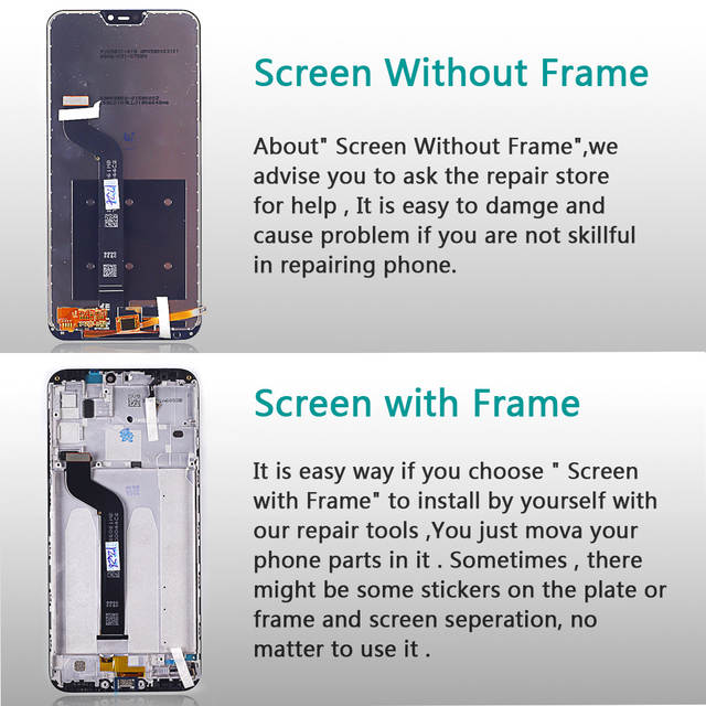 Vancca LCD display For Xiaomi Mi A2 Lite 5 84 inch touch screen For Xiaomi  Redmi 6 Pro Digitizer assembly Frame With Free Tools