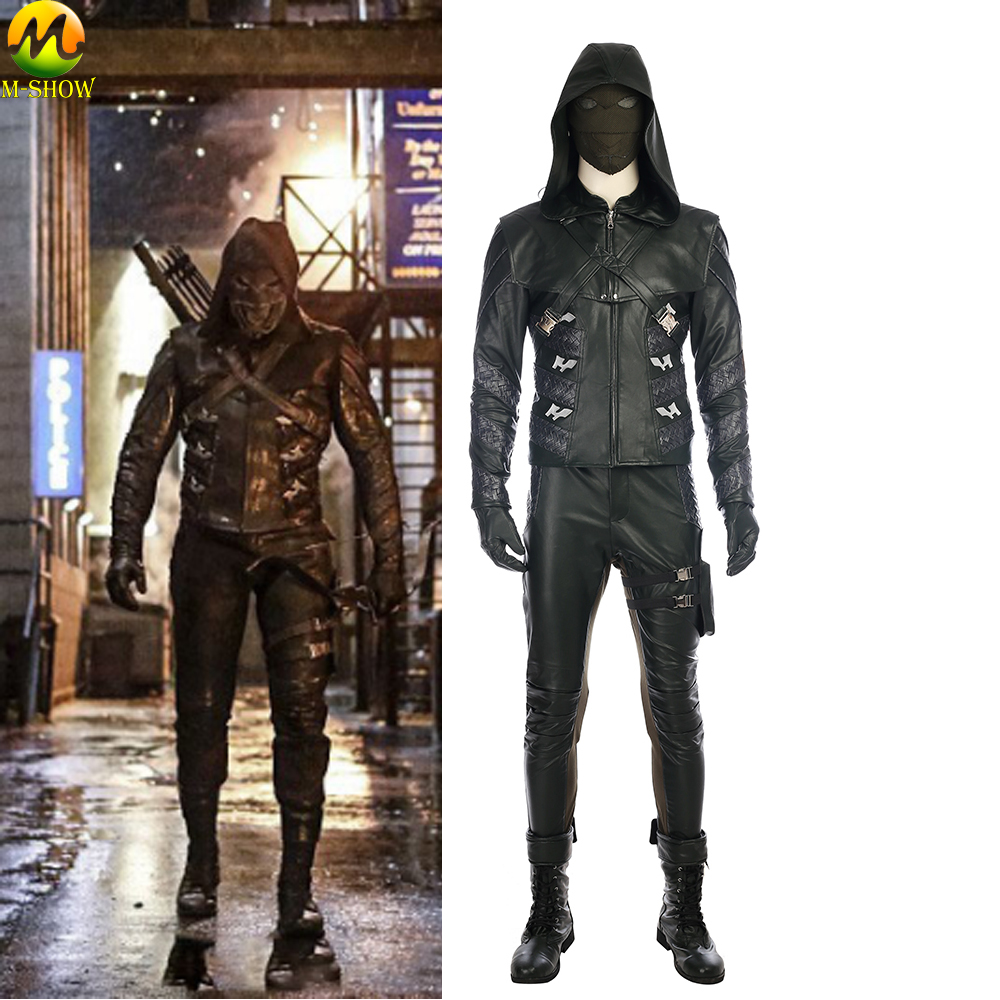 Green Arrow Season 5 Prometheus Cosplay Costume Adrian Chase Prometheus Cosplay Leather Clothing Custom Made Halloween