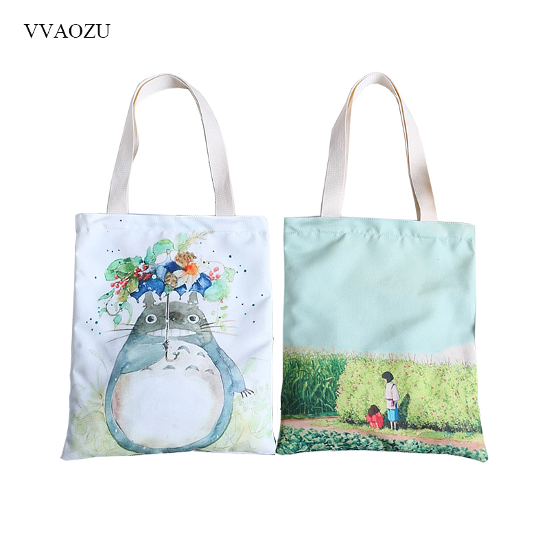 c9eb63704a48 Detail Feedback Questions about Cartoon Totoro Printed Shoulder Bag Women  Large Capacity Female Shopping Tote Bag Canvas Handbag Beach Lady Hand Bag  on ...
