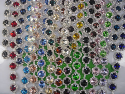 Diy Fashion costume applique facted round 14mm glass crystal rhinestone silver cup claw chain clothes wedding decorations 1yard