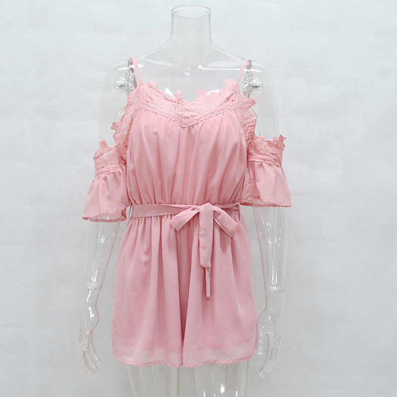 ed33d68e48 ... yinlinhe Cold Shoulder Chiffon Jumpsuits short Pink Rompers women  Elegant lace Playsuits Summer Sashes bow tied ...