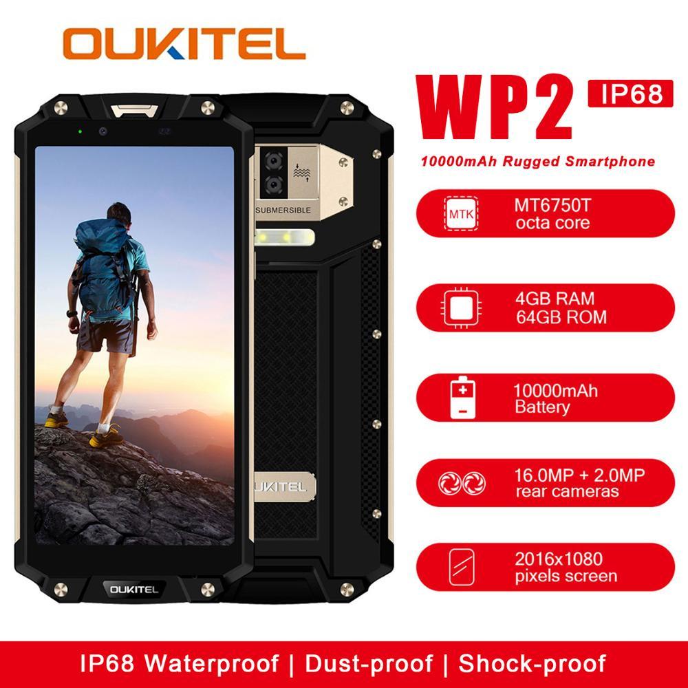 OUKITEL WP2 IP68 téléphone portable étanche à la poussière et aux chocs 4 GB 64 GB MT6750T Octa Core 6.0