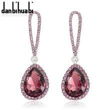 Top Luxury Elegant Champagne Crystal Long Earrings Femme Fashion Jewelry Brand Indian Rhinestone Drop For Women Wedding
