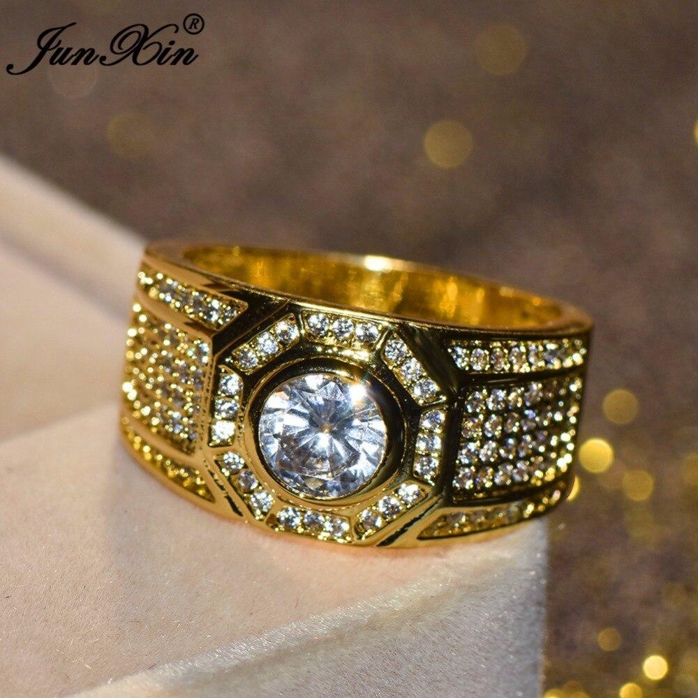 JUNXIN Luxury Male Female Big White Stone Ring Fashion