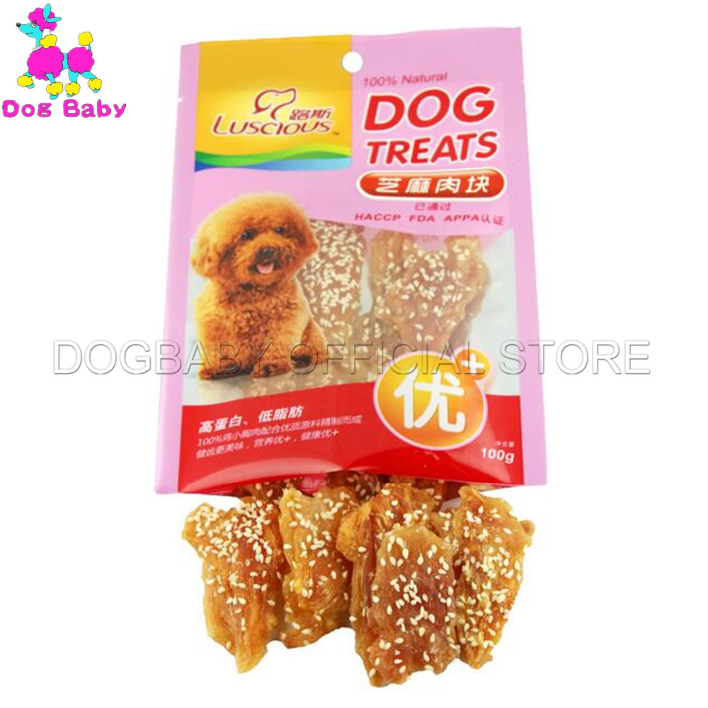 DOGBABY Feeders For Dogs 100% Fresh Chicken Dogs Snacks 100g/piece Pet Food Feeders Clean Teeth Sesame Flavor Foods For Teddy image