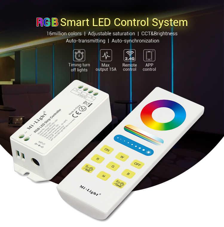 Nouveau Mi Light DC12V ~ 24 V RGB + CCT système de contrôle de LED intelligent RGBW RGB + CCT 2.4G télécommande sans fil RF + 15A contrôleur pour bande de lumière LED