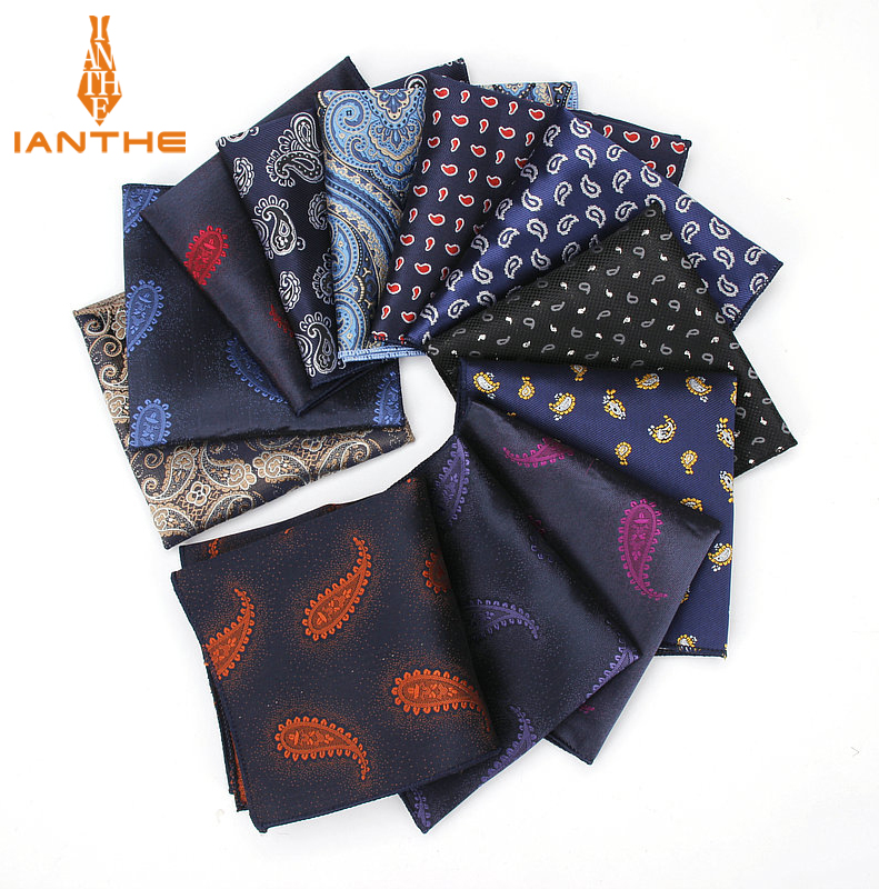 Luxury Men's Handkerchief Paisley Silk Wowen Jacquard Hankies Polyester Hanky Business Vintage Pocket Square Chest Towel 23*23CM