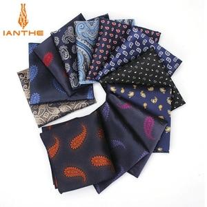 Luxury Men's Handkerchief Paisley Silk Wowen Jacquard Hankies Polyester Hanky Business Vintage Pocket Square Chest Towel 23*23CM