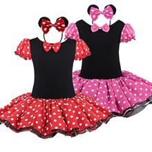 купить 2018 Summer girls dress Cartoon Minnie Party Dress Fancy Costume Cosplay Girls Minnie Dress+Headband 9M-6Y Infant Baby Clothes онлайн