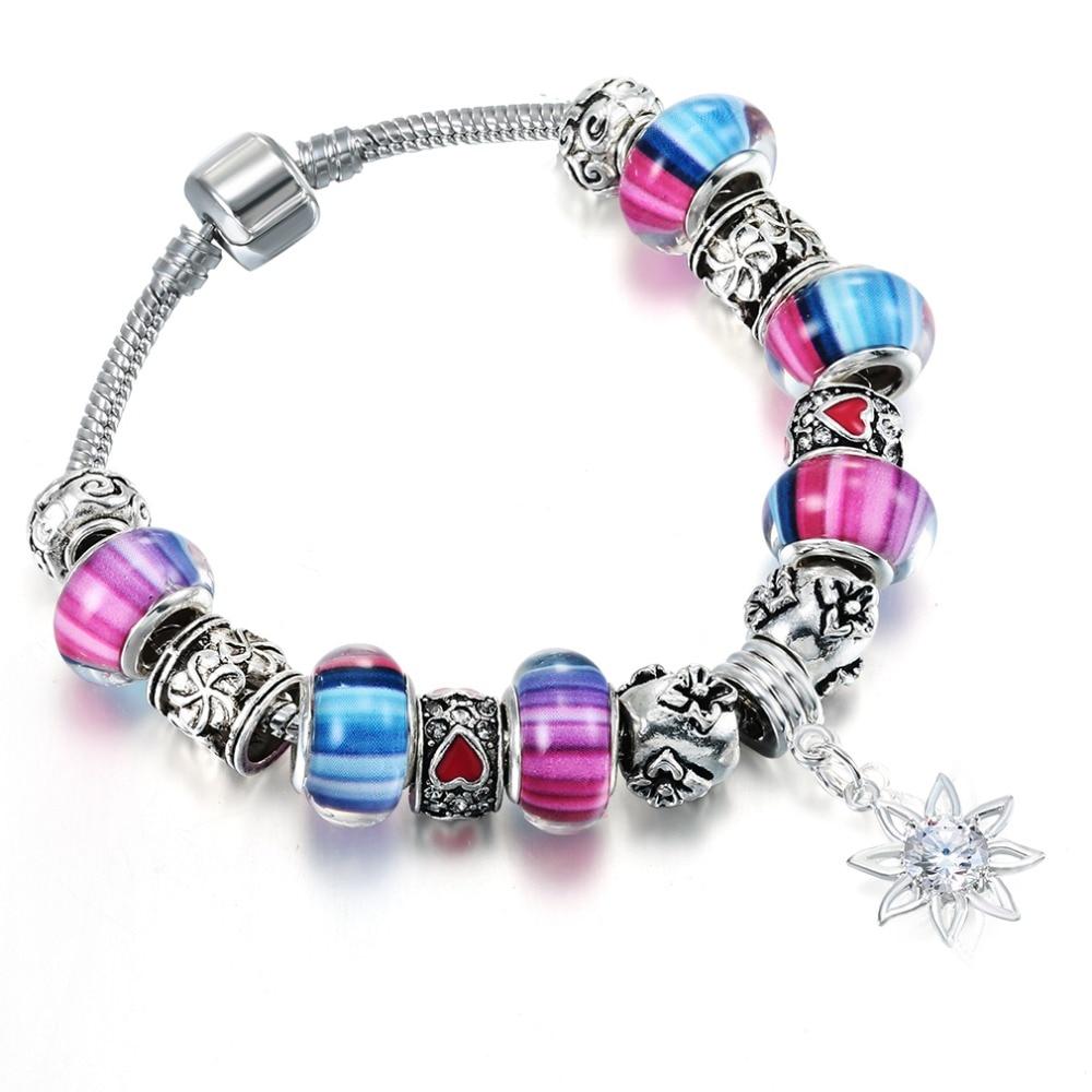 QIAMNI-DIY-Jewelry-Handmade-Multicolor-Murano-Glass-Beads-Sun-Flower-Pendant-Dangle-Bracelets-Bangles-Women-Snake
