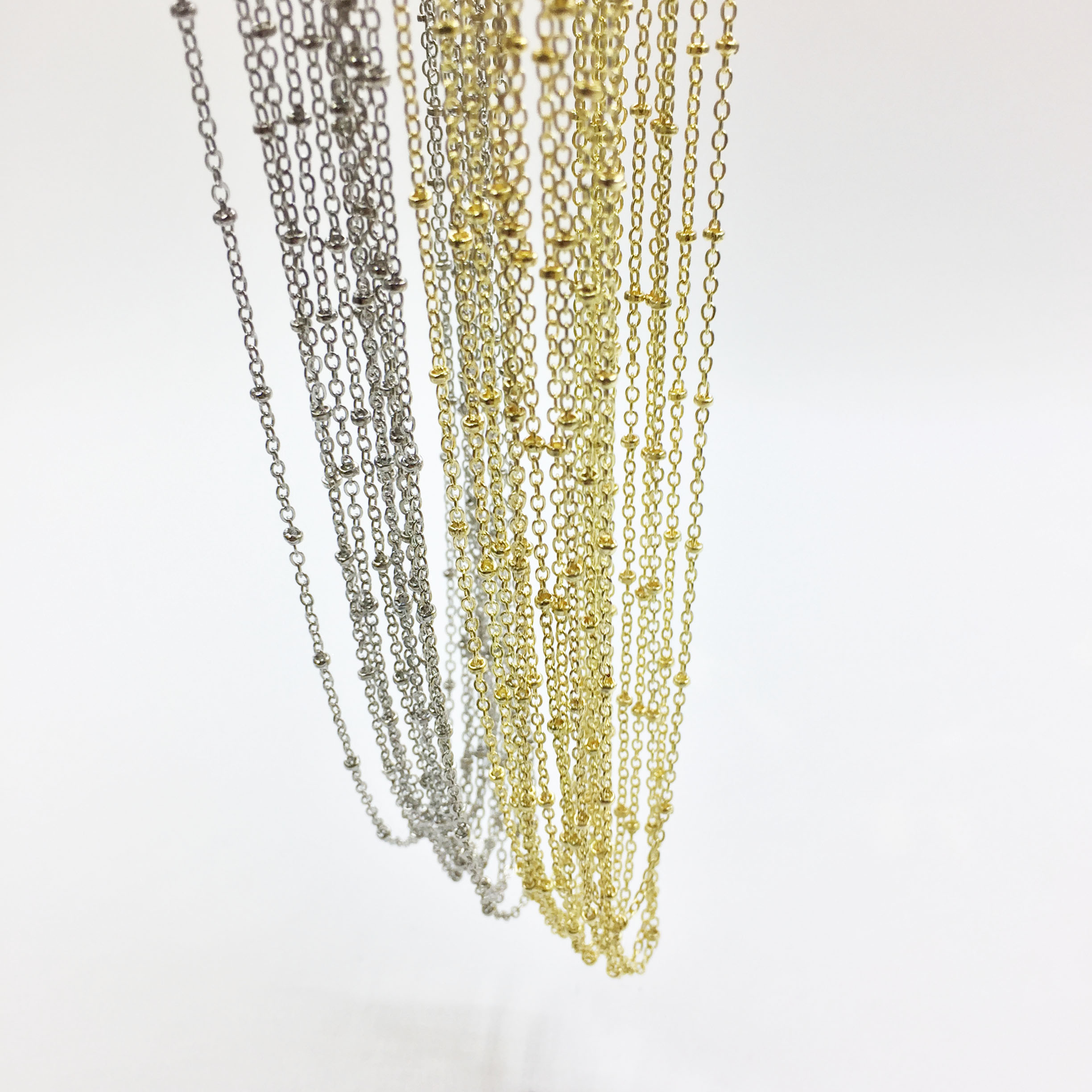Eruifa 10pcs 45cm Tiny Dot Chain With 6cm Ext Chain Jewelry Link DIY Finding  Necklace,2 Colors Nickle Free And Lead Free