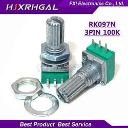 5 шт. RK097G 100K одноканальный потенциометр B100K с переключателем аудио 6-контактный вал 15 мм усилитель уплотнительный потенциометр