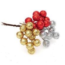 10 шт./лот, подвесные шары на рождественскую елку, фруктовый шар, вечерние украшения, украшение на Рождество, красное, серебряное, Золотое