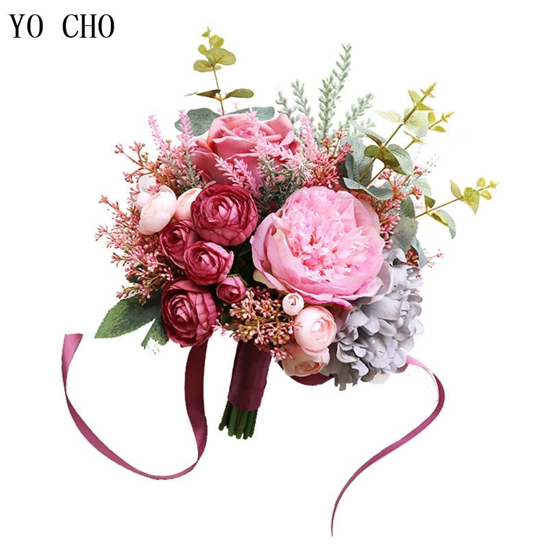 Beautiful Flowers For Weddings: YO CHO Fashion Bride Hand Flowers Beautiful Peony Wedding