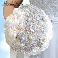2016 Elegant Customized Bling Pearl And Crystal Wedding Bouquets Bridal Rose Flowers Artificial White Bride Brooch Bouquet