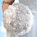2016 Elegante Personalizada Bling de La Perla Y Cristal Blanco de Boda Ramos de Novia Flores Color de Rosa Artificial Ramo de Novia Broche