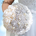 2016 Elegante Personalizado Bling Pérolas E Cristais de Casamento Buquês de Noiva Rosa Noiva Broche Buquê de Flores Artificial Branco