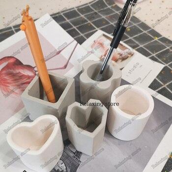 Mini olla redonda de hormigón silicona molde bolígrafo cuadrado contenedor vela titular yeso molde lápiz jarrón cemento arcilla moldes