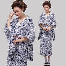 High Quality Japan Kimono Blue and White Porcelain Japanese Traditional Costume Women Folk Costume Dress Free Shipping