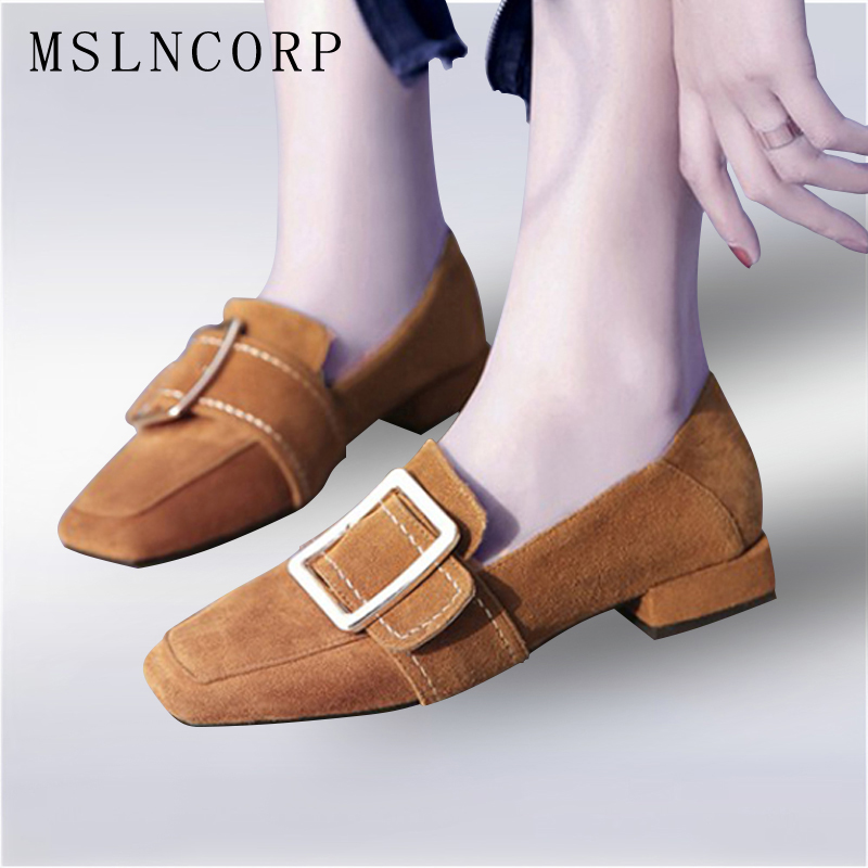 Plus Size 34 43 Genuine Leather Spring Autumn Women Flats Shoes Ladies Metal Decoration Square Toe Slip On Shallow Casual Shoes