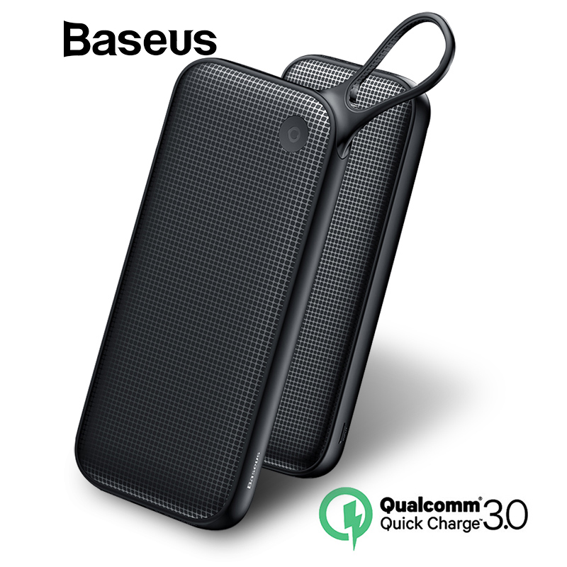 Baseus Banco de la energía 20000 mAh carga rápida 3,0 banco de energía portátil Dual USB cargador de teléfono móvil Powerbank para iPhone X 8 Samsung